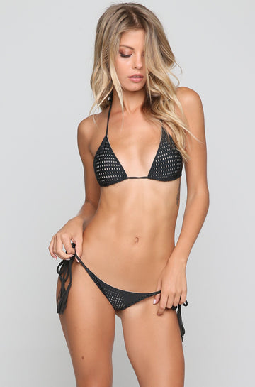 Humuhumu Mesh Bikini Top in Shadow/Clay
