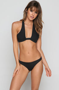 Cold Shoulder Bikini Top in Black