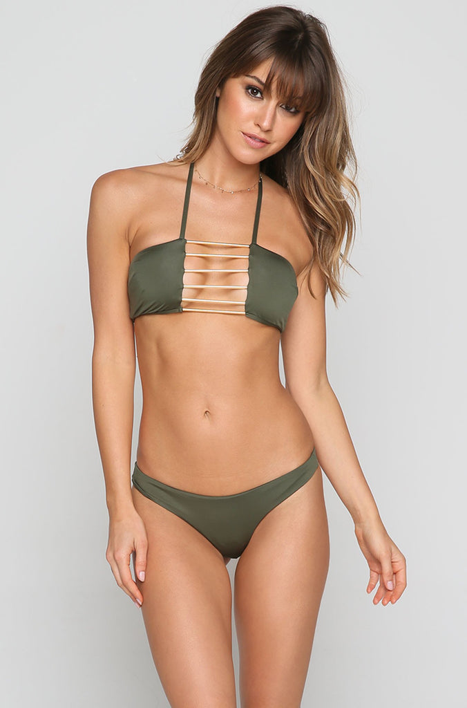 Island Fever Brazilian Bikini Bottom in Fern
