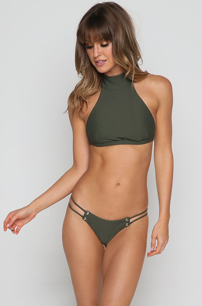 Roped Up High Neck Bikini Top in Textured Fern