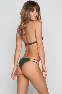 Roped Up Skimpy Bikini Bottom in Textured Fern