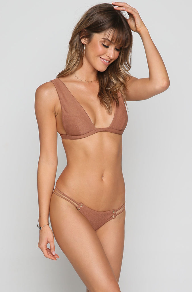 Roped Up Tri Bikini Top in Textured Cacao