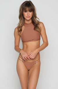 Roped Up Skimpy Bikini Bottom in Textured Cacao