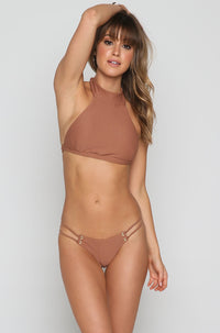 Roped Up High Neck Bikini Top in Textured Cacao