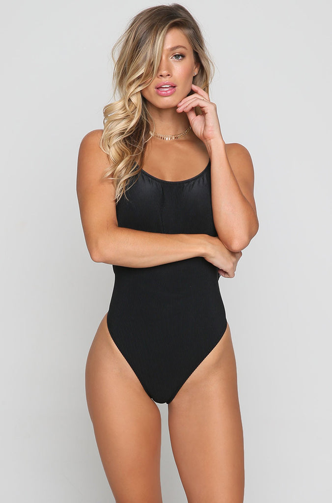 Pacific One Piece in Black Rib
