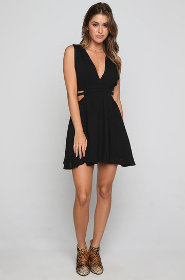 Double Side Strap Dress in Black