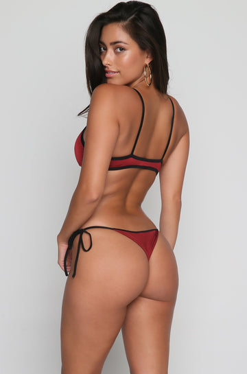 FM Triangle Tie Side Bikini Bottom in Merlot
