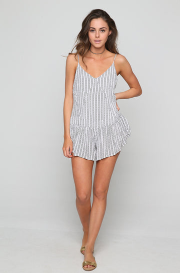 Breeze Patchwork Romper in White Nobel