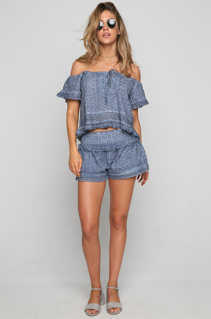 Off Shoulder Lace Up Top in Navy