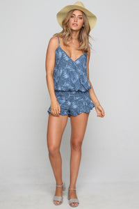 Denim Tank in Palm Tree Print