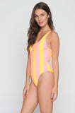 The Anne-Marie One Piece in Coral/Marigold Stripe
