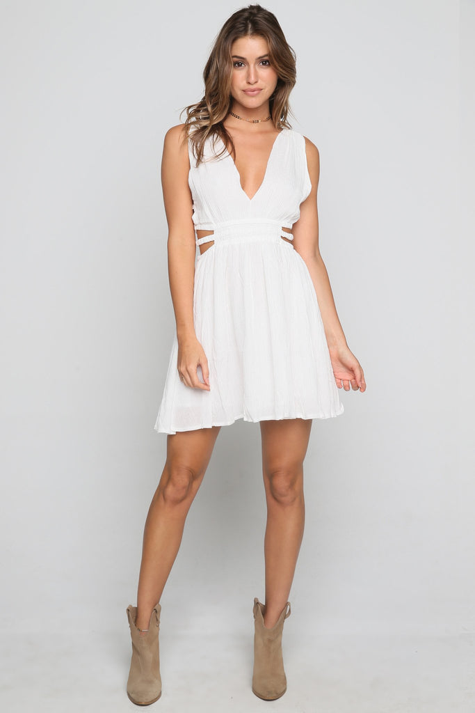 Double Side Strap Dress in Ivory