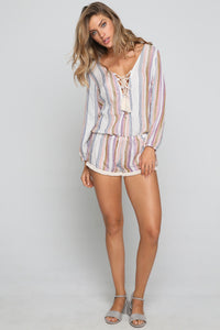 Lace Up Romper in Multi Stripe
