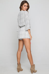 Textured Tassel Romper in Ivory/Black