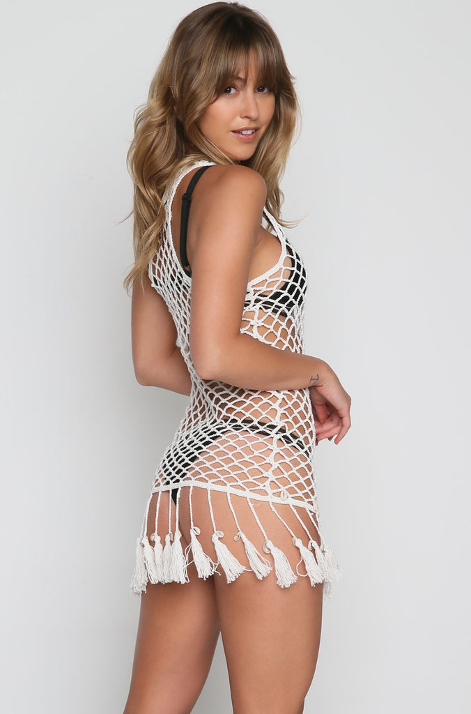 Viola Fishnet Coverup in Ivory