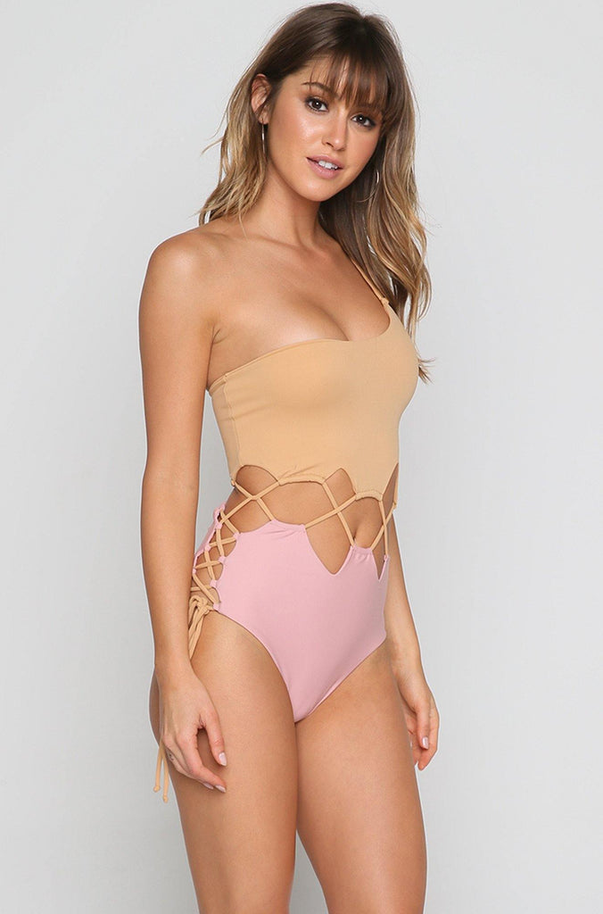 Alegre One Piece in Tan/Pink