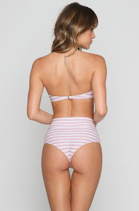 High Rise Bikini Bottom in Pink Stripes