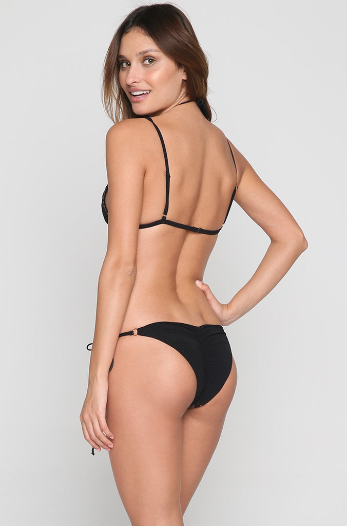 Hypnotic Tie Side Bikini Bottom in Black
