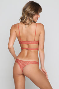 Ho'okipa Mesh Bikini Bottom in Peach/Clay