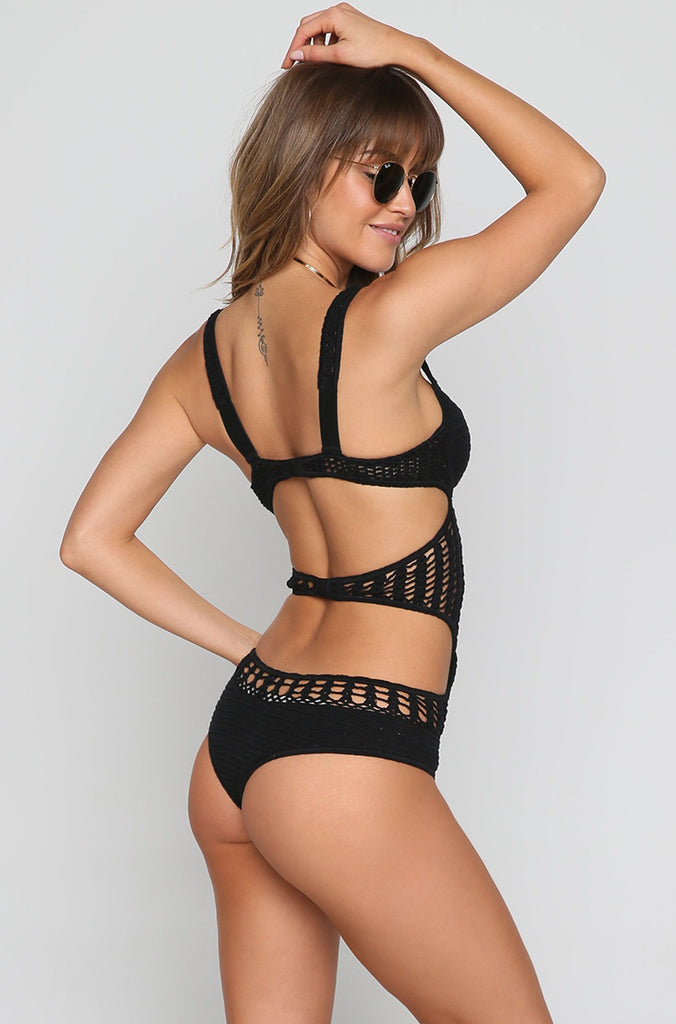 Fonda Crochet One Piece in Black