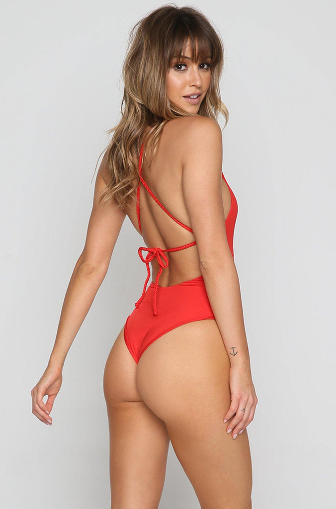 Poppy Cheeky One Piece in Red