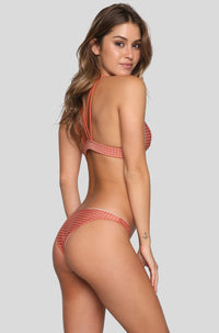 Waikoloa Mesh Bikini Bottom in Peach/Clay