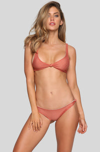 Spain Mesh Bikini Top in Peach/Clay