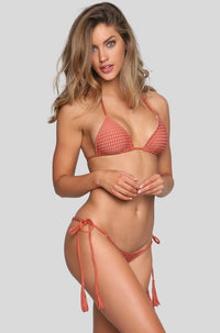 Humuhumu Mesh Bikini Top in Peach/Clay