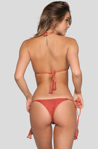 Polihale Crochet Bikini Bottom in Peach