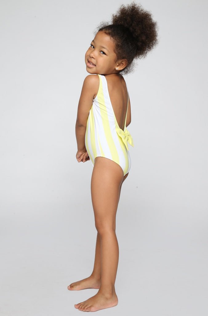 Sweetie Babykini One Piece in Mellow Yellow Stripes