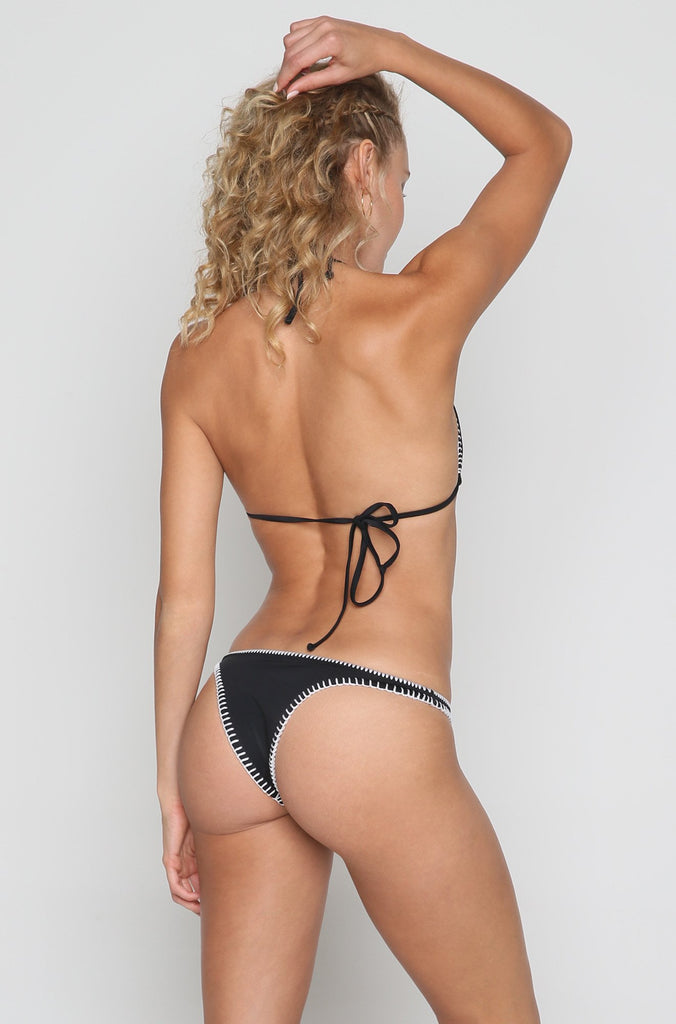 Daniela Bikini Bottom in Embroidered Black