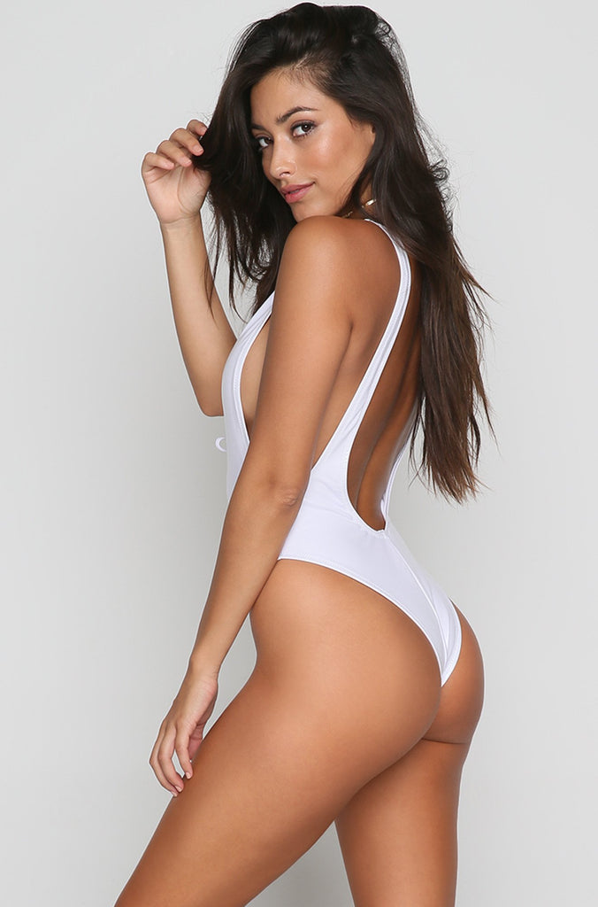 Lace Up One Piece in Metallic White