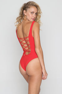 The Bombshell One Piece in Red