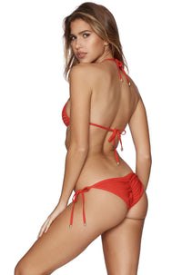 Tie Side Skimpy Bikini Bottom in Hard Summer Red
