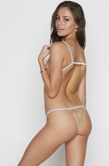 Josephine Bikini Bottom in Tan Suede