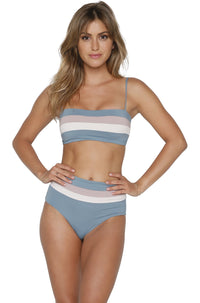 Rebel Stripe Bikini Top in Slated Glass