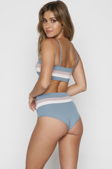 Portia Stripe Bikini Bottom in Slated Glass