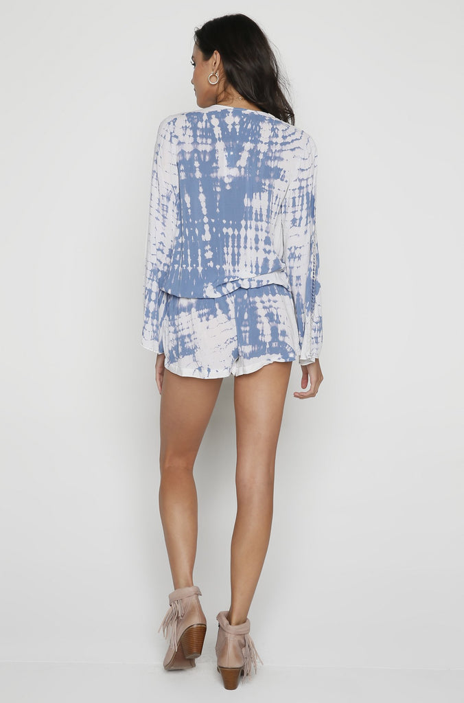 Crochet Trim Romper in Blue/White Tie Dye