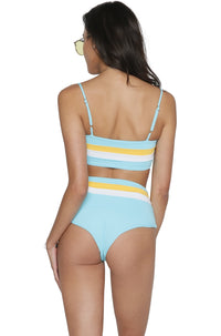 Portia Stripe Bikini Bottom in Aruba Blue