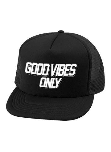 Good Vibes Trucker Hat in Black