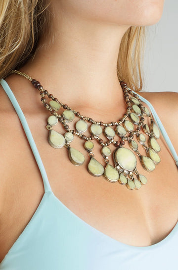 Natalie B Jewelry Cassidy Necklace in Moss Jade|ISHINE365 - 1