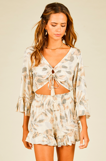 Ruffle Sleeve Open Tie Romper in Neutral Leaf