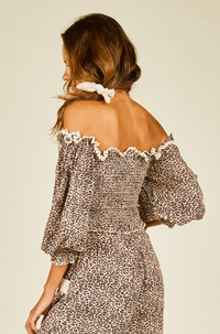 Mini Leopard Off Shoulder Top in Mauve
