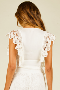 Crochet Tie Detail Top in Ivory