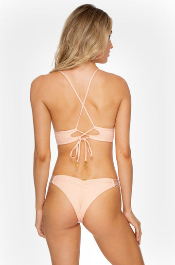 Jagged Bombshell Strappy Brazilian Ruched Bottom in Peachin