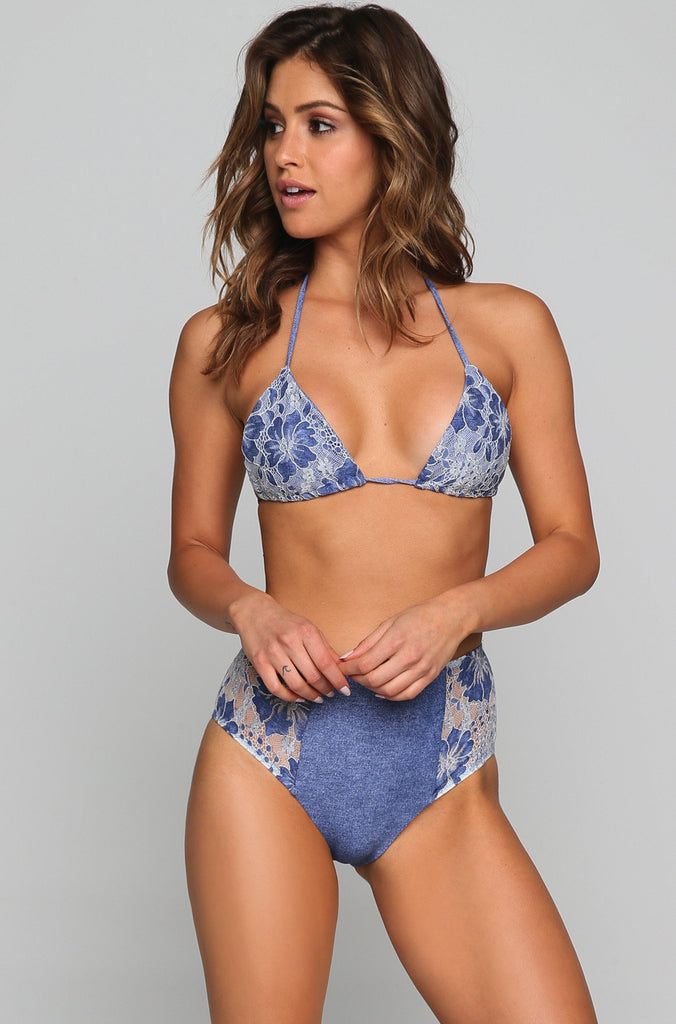 Lace Tri Bikini Top in Denim