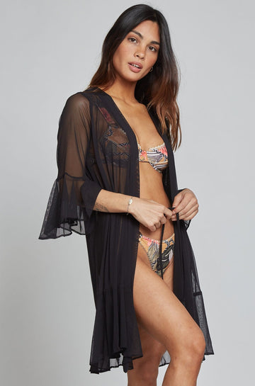 Izumi Mesh Cover Up in Black