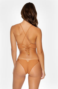Jagged Bombshell Strappy Brazilian Ruched Bottom in Caramelo