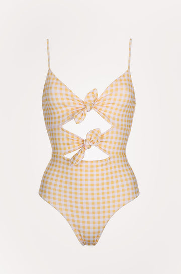 Marion One Piece in Vichy Yellow