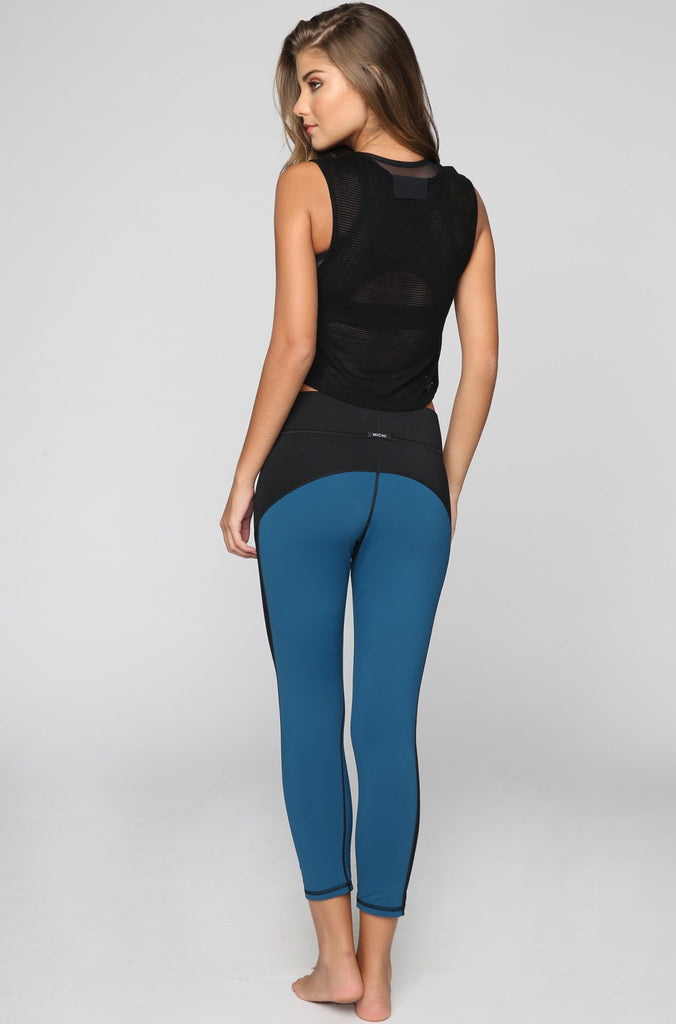 Stardust Crop Legging in Lagoon Blue